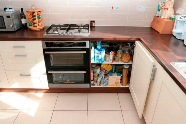 A kitchen cupboard in the home of Emile Cilliers, where he allegedly damaged a gas valve in an attempt to kill his wife Victoria Cilliers. Photo: Wiltshire Police/PA Wire