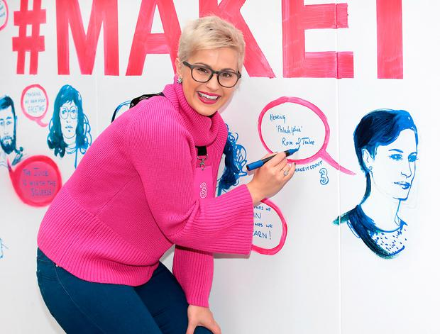 Former Rose of Tralee, Maria Walsh pictured at the #Makeitcount mural by Three on South King Street, Dublin. Picture: Brian McEvoy