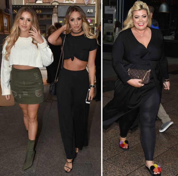 (L to R) Amber Dowding, Georgia Kousoulou and Gemma Collins filming TOWIE in Dublin