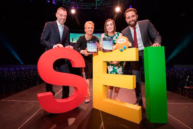Donal Murphy, CEO of DCC plc, flagship sponsors of the Social Entrepreneurs Ireland Awards with award winners Tammy Darcy of the Shona Project and Stephanie O'Malley of Education DESTY, pictured with Darren Ryan, CEO of Social Entrepreneurs Ireland