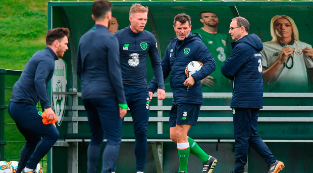 Ireland assistant manager Roy Keane and manager Martin O'Neill during squad training