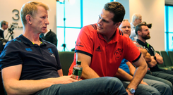 Leinster head coach Leo Cullen, left, and Munster Director of Rugby Rassie Erasmus