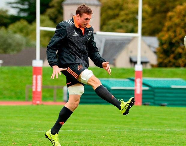 Munster's Tommy O'Donnell practises his kicking during training in UL. Photo by Diarmuid Greene/Sportsfile
