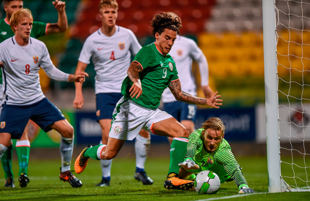 Reece Grego-Cox of Republic of Ireland in action against Sondre Rossbach of Norway