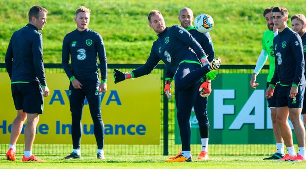 Ireland players (l-r) Glenn Whelan, Aiden O'Brien, Rob Elliot, Darren Randolph, Richard Keogh, Callum O'Dowda and Eunan O'Kane during training in Abbotsto. Photo by Stephen McCarthy/Sportsfile