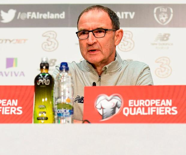 Martin O'Neill answers questions at yesterday's press conference in Abbotstown. Photo by Stephen McCarthy/Sportsfile