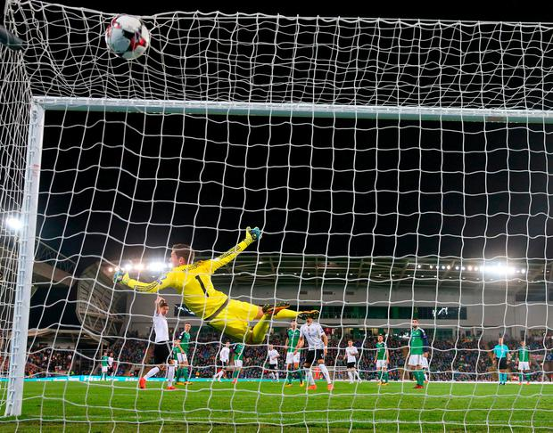 Sebastian Rudy blasts the ball past Michael McGovern to score Germany's first goal at Windsor Park. Photo: Alexander Hassenstein/Bongarts/Getty Images