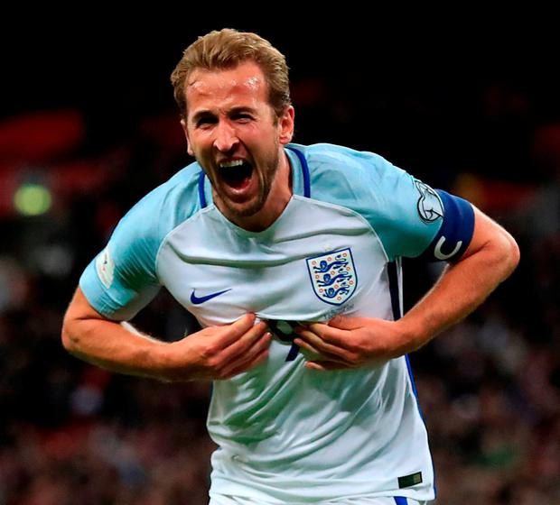 England's Harry Kane celebrates scoring his side's first goal. Photo: Adam Davy/PA Wire