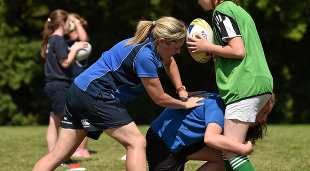 Competitors in action at the IRFU's new roadshow sessions. Photo: Sportsfile