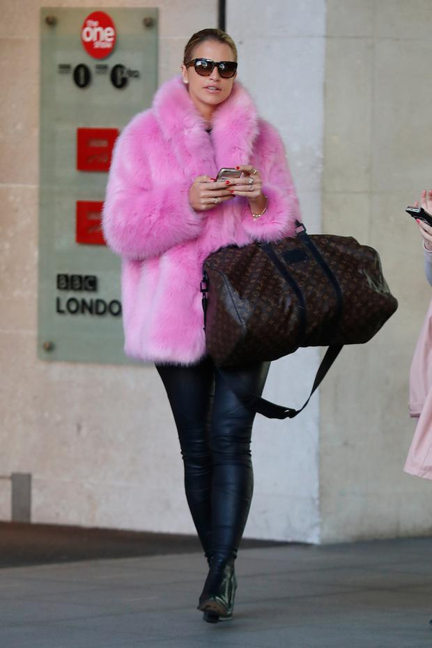 Vogue Williams seen at BBC Radio One on October 5, 2017 in London, England. (Photo by Neil Mockford/GC Images)