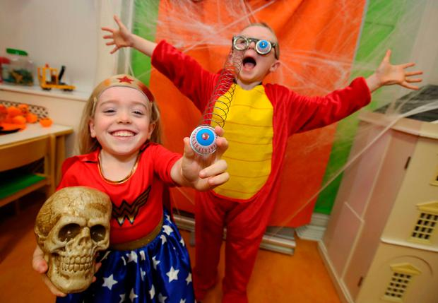 Grace Cogan (10) and Luke Staunton (6) at the launch of Temple Street Foundation's annual Trick or Treat for Temple Street campaign. Photo: Mark Stedman