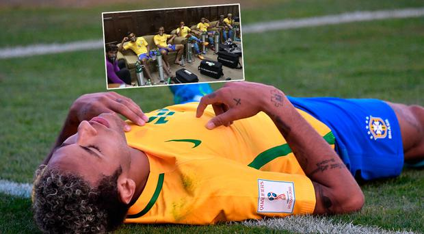 Neymar during the draw with Bolivia and (inset) Brazil players with oxygen masks