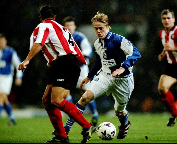 21 Nov 1998: Damien Duff of Blackburn Rovers in action during the FA Carling Premiership match against Southampton played at Ewood Park in Blackburn, England. The match finished in a 0-2 win for the visitors Southampton. \ Mandatory Credit: Phil Cole /Allsport