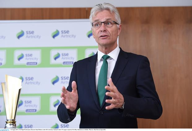 FAI High Performance Director Ruud Dokter at the SSE Airtricity National Under 15 League Launch at FAI HQ, Abbotstown in Dublin. Photo by Matt Browne/Sportsfile