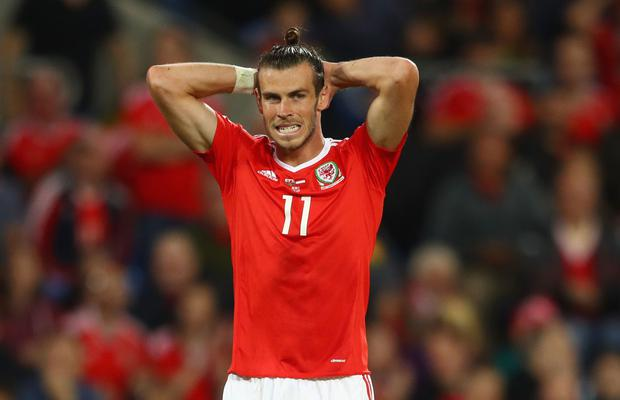 Gareth Bale of Wales reacts during the FIFA 2018 World Cup Qualifier between Wales and Austria at Cardiff City Stadium on September 2, 2017 in Cardiff, Wales. (Photo by Michael Steele/Getty Images)