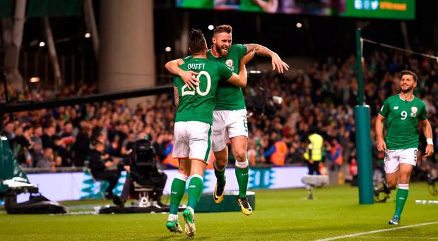 Daryl Murphy, right,of Republic of Ireland celebrates with team-mate Shane Duffy after scoring his side's first goal during the FIFA World Cup Qualifier Group D match between Republic of Ireland and Moldova at Aviva Stadium, in Dublin. Photo by Stephen McCarthy/Sportsfile
