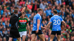 Dublin's Ciaran Kilkenny is shown a black card during the closing stages of the All-Ireland final against Mayo. Photo by Eóin Noonan/Sportsfile