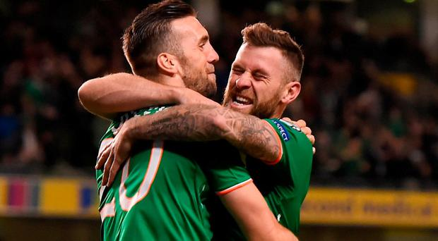 Daryl Murphy, right, of Republic of Ireland celebrates with teammate Shane Duffy after scoring his side's first goal during the FIFA World Cup Qualifier Group D match between Republic of Ireland and Moldova at Aviva Stadium in Dublin. Photo by Eóin Noonan/Sportsfile