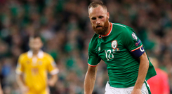 David Meyler covering the hard yards for Ireland last night. Photo: PA