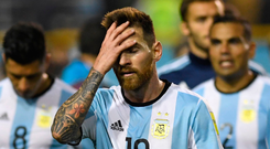 A distraught Lionel Messi all alone with his thoughts after Argentina's 0-0 draw with Peru in Buenos Aires. Photo: Getty Images