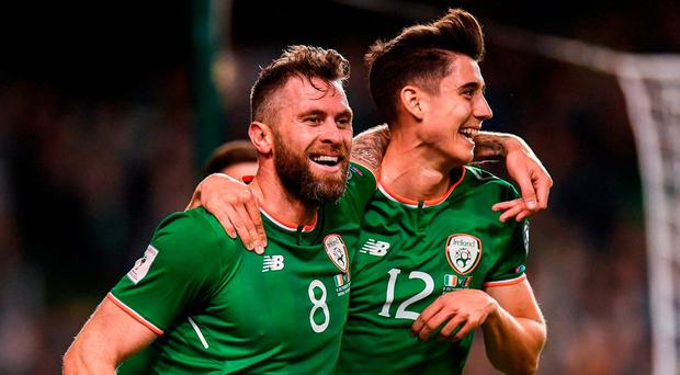 Daryl Murphy of Republic of Ireland celebrates after scoring his side's second goal with team-mate Callum O'Dowda, right, during the FIFA World Cup Qualifier Group D match between Republic of Ireland and Moldova at Aviva Stadium in Dublin. Photo by Stephen McCarthy/Sportsfile