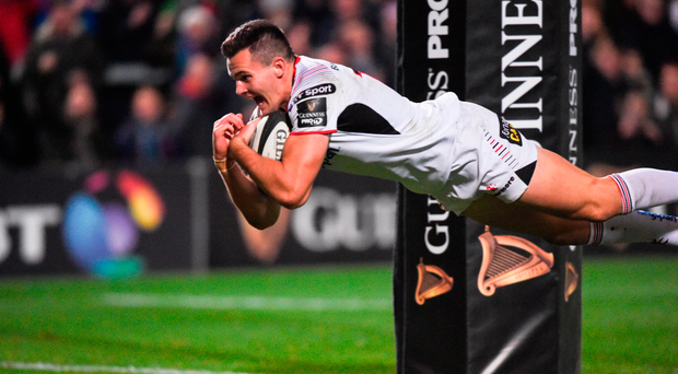 Jacob Stockdale dives over to score Ulster's only try. Photo by David Fitzgerald/Sportsfile