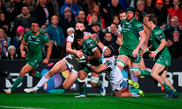 Jarrad Butler of Connacht is tackled short of the try line by Christian Lealiifano, right, and Stuart McCloskey of Ulster. Photo by David Fitzgerald/Sportsfile