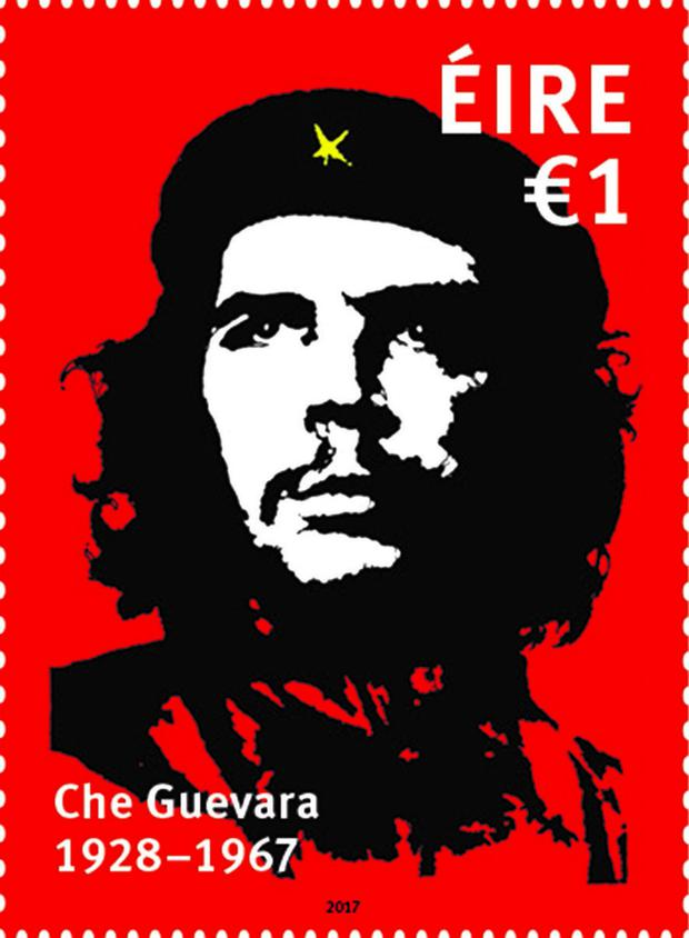 The new stamp featuring the face of Che Guevara, a leading figure in the Cuban Revolution