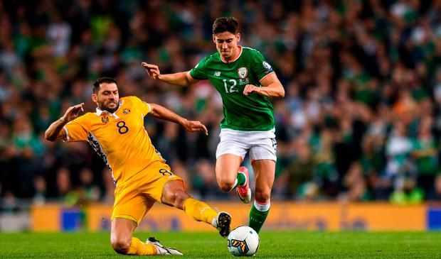 Callum O'Dowda of Republic of Ireland in action against Alexandru Gaţcan of Moldova during the FIFA World Cup Qualifier Group D match between Republic of Ireland and Moldova at Aviva Stadium in Dublin. Photo by Eóin Noonan/Sportsfile