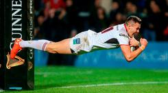 Jacob Stockdale of Ulster scores his side's first try during the Guinness PRO14 Round 6 match between Ulster and Connacht at the Kingspan Stadium in Belfast. Photo by John Dickson/Sportsfile