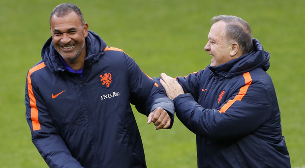 Ruud Gullit and Dick Advocaat find something to laugh about during a Dutch training session in Borisov ahead of their match against Belarus. Photo: Getty Images