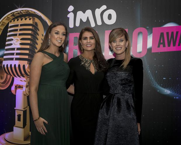 Pictured at the IMRO Radio Awards 2017 were, from left, Jilly McDonough, Sandra Byrne, Maureen Catterson, all from RTE . Iain White Photography.