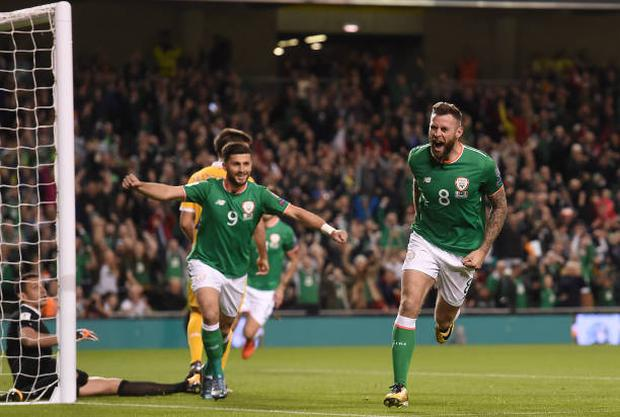 Daryl Murphy of Republic of Ireland celebrates after scoring his side's first goal during the FIFA World Cup Qualifier Group D match between Republic of Ireland and Moldova at Aviva Stadium in Dublin. (Photo By Eóin Noonan/Sportsfile via Getty Images)