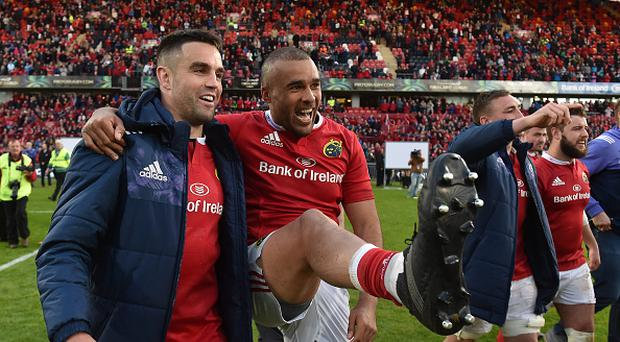 Conor Murray, left, and Simon Zebo of Munster celebrate after the Guinness PRO12 semi-final between Munster and Ospreys at Thomond Park in Limerick. (Photo By Diarmuid Greene/Sportsfile via Getty Images)