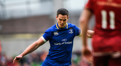 7 October 2017; Jonathan Sexton of Leinster kicks a penalty to become Leinster's all-time point-scorer during the Guinness PRO14 Round 6 match between Leinster and Munster at the Aviva Stadium in Dublin. Photo by Cody Glenn/Sportsfile