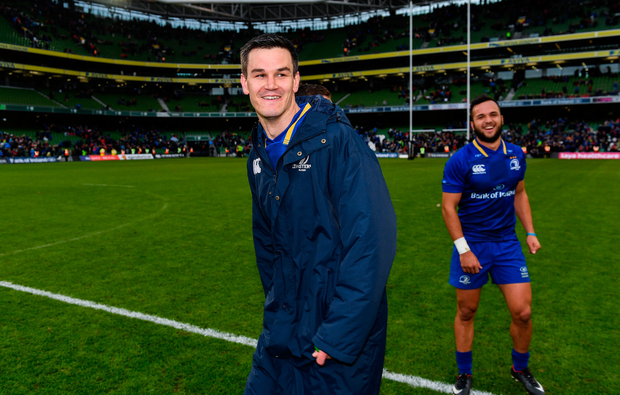 7 October 2017; Leinster's Jonathan Sexton, left, and Jamison Gibson-Park following the Guinness PRO14 Round 6 match between Leinster and Munster at the Aviva Stadium in Dublin. Photo by Ramsey Cardy/Sportsfile
