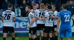 7 October 2017;The Dundalk players celebrate with Brian Gartland afer scoring the first goal during the SSE Airtricity League Premier Division match between Finn Harps and Dundalk at Finn Park in Ballybofey, Co Donegal. Photo by Oliver McVeigh/Sportsfile