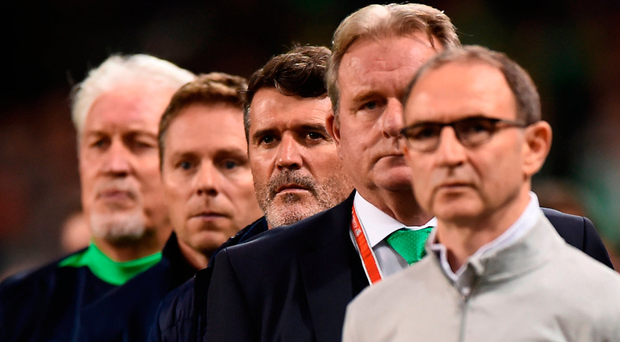 Martin O'Neill with his management team before kick-off. Photo: Sportsfile