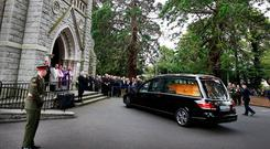 FOND FAREWELL: Mourners at the funeral of former Taoiseach Liam Cosgrave at the Church of the Annunciation in Rathfarnham yesterday. Photo: Steve Humphreys