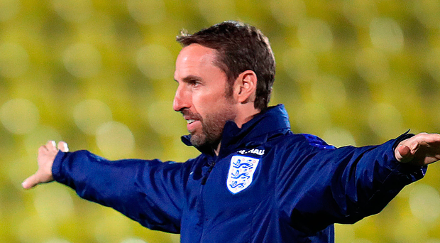 England manager Gareth Southgate during training at the LFF Stadium in Vilnius. Photo: PA