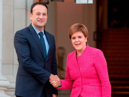 AGITATING: Taoiseach Leo Varadkar with Scotland's first minister, Nicola Sturgeon, at Government Buildings in Dublin last week. Photo: Tom Honan/PA Wire