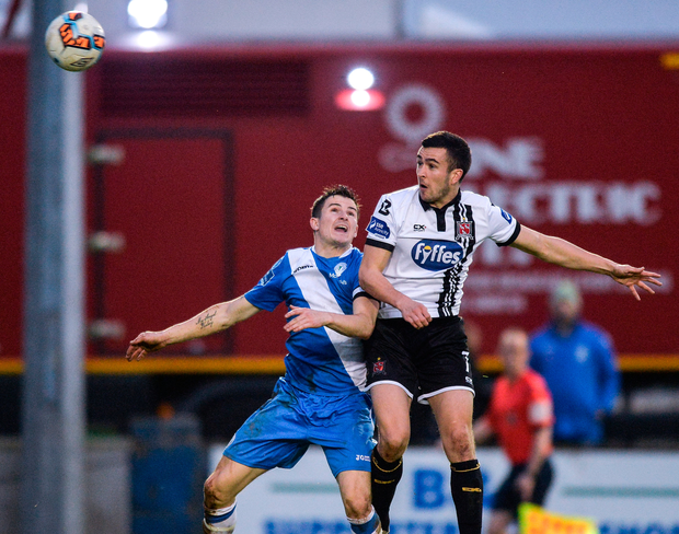 Michael Duffy of Dundalk in action against Gareth Harkin of Finn Harps. Photo: Sportsfile