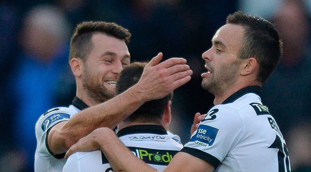 Brian Gartland of Dundalk celebrates with Thomas Stewart and Robbie Benson after scoring the first goal during the SSE Airtricity League Premier Division match between Finn Harps and Dundalk at Finn Park in Ballybofey, Co Donegal. Photo: Sportsfile