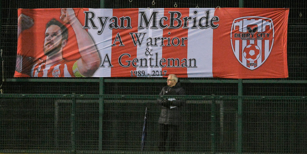 A poster in memory of Ryan McBride. Photo: Sportsfile