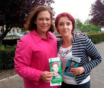 BEFORE THE SPLIT: Sinn Fein deputy leader Mary Lou McDonald canvassing with Sorcha O'Neill, who has left the party