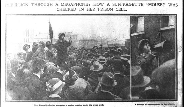 CAT AND MOUSE: Above, a 'Daily Sketch' photo of Hanna addressing a meeting outside Mountjoy, where suffragette Kathleen Houston was imprisoned in 1914.