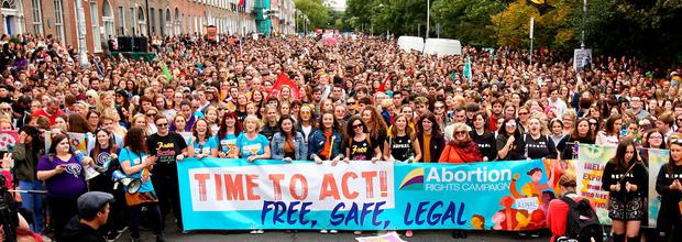 PRO-CHOICE CAMPAIGN: Thousands of demonstrators make their feelings known at the recent Repeal the Eighth Amendment march at Merrion Square, Dublin. Photo: Gerry Mooney