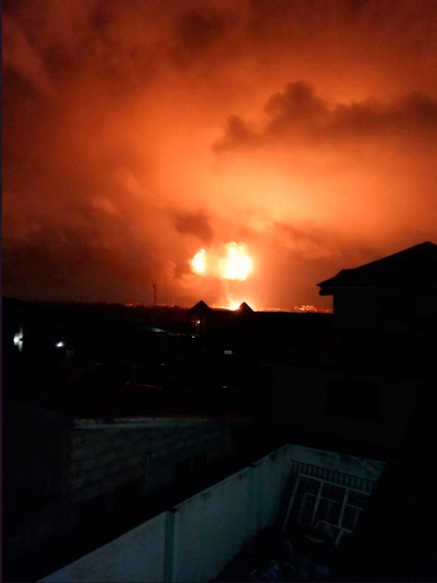An explosion is seen after a natural gas station exploded in Ghana's capital Accra, in this image obtained from social media October 7, 2017. Credit: @ronnieamofa/via REUTERS