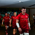 7 October 2017; Munster captain Peter OMahony leads his team out ahead of the Guinness PRO14 Round 6 match between Leinster and Munster at the Aviva Stadium in Dublin. Photo by Ramsey Cardy/Sportsfile