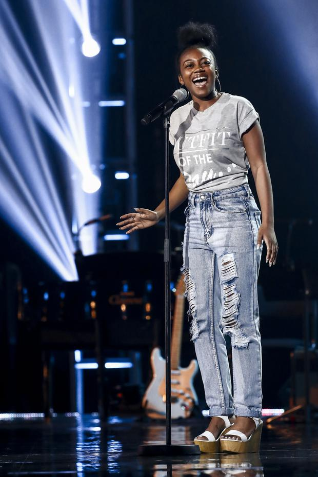 Rai-Elle during the Six Chair Challenge on episode 12 of the ITV1 talent show, The X Factor. PRESS ASSOCIATION Photo. Issue date: Sunday October 8, 2017. Photo credit should read: Tom Dymond/Syco/Thames/ITV/PA Wire